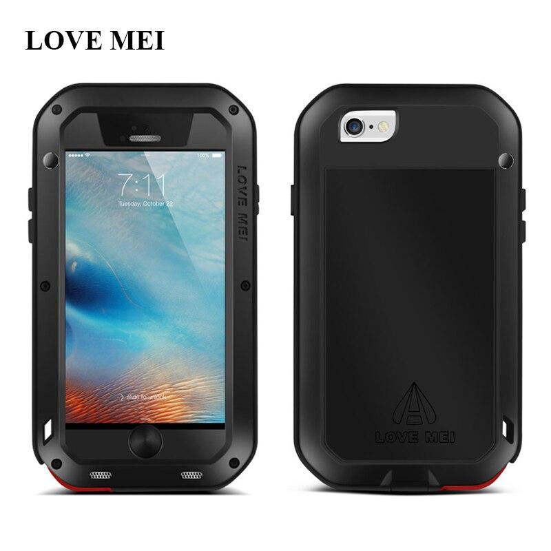 imágenes para AMOR MEI De Aluminio Del Metal Para el iphone 6 6 s (4.7 pulgadas) potente Cubierta Impermeable A Prueba de Golpes Para el iphone de Apple 6 6 S Proteger Shell