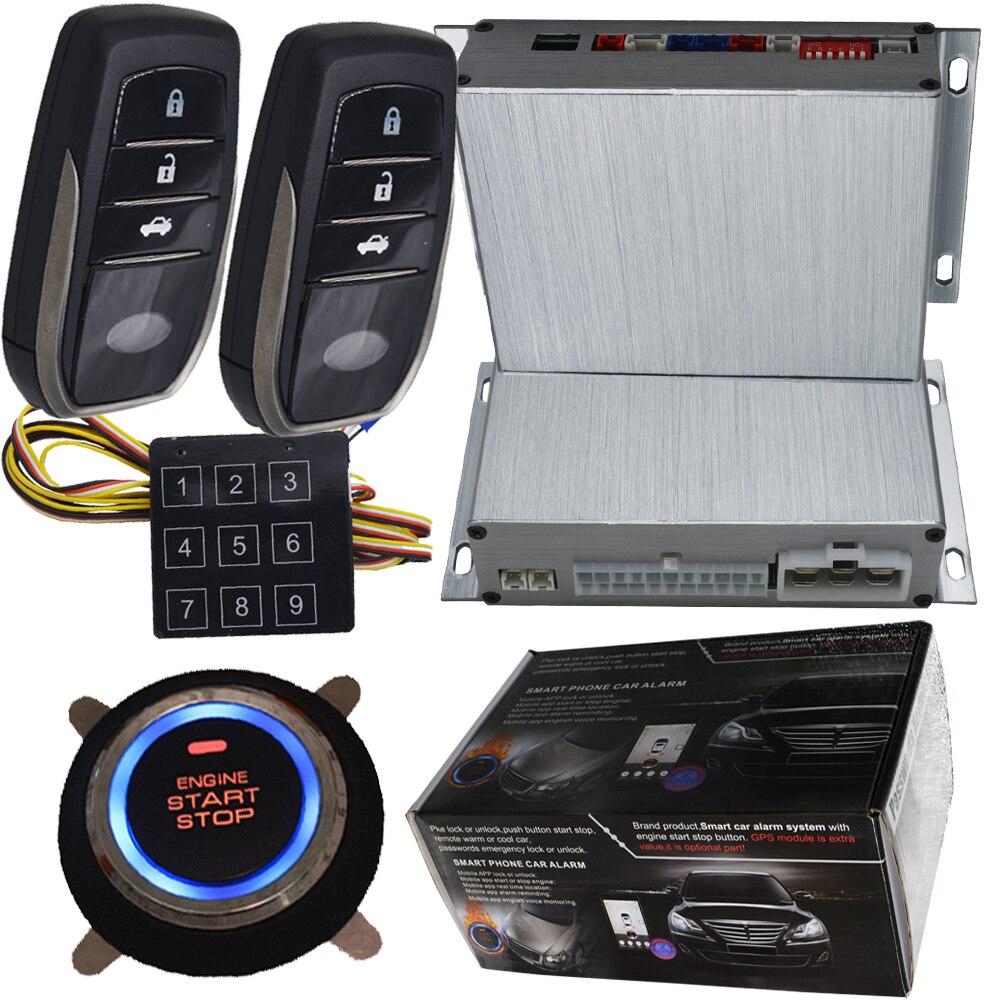 pke smart car alarm system hopping code smart key low power warning enable&disable pke remote push start stop engine system