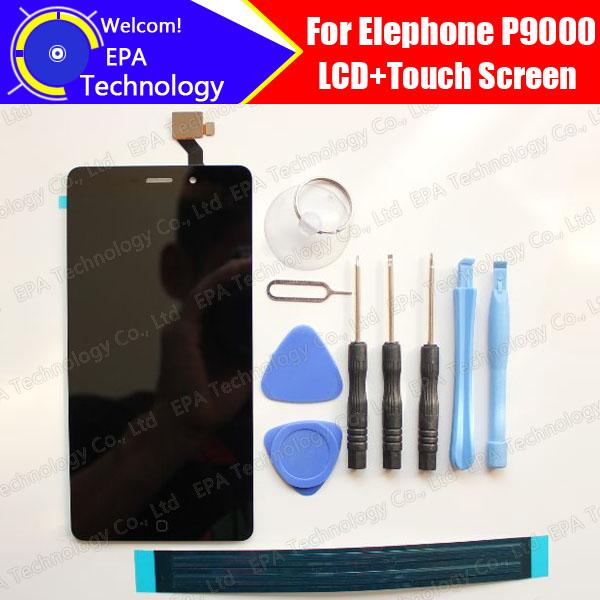 Prix pour Elephone P9000 LCD Affichage Avec Écran Tactile 100% D'origine Digitizer Assemblée Réparation Accessoires Pour P9000 + outils + adhésif