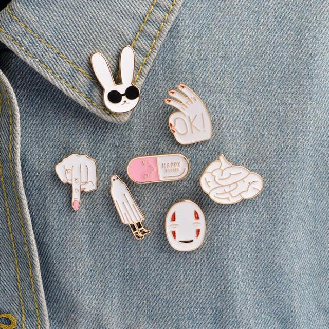 US $0 98 33% OFF ShuangShuo DIY Vintage Brooch Middle Finger Enamel Pin  Rabbit Pin Brain HAPPY Capsule Pins and Brooches for Women Anime Pill  Pin-in