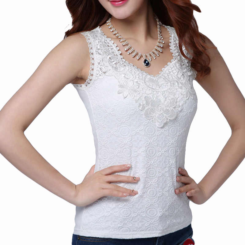 Women's Sexy Blouse Shirt Summer Elegant Sleeveless White Black Crochet Lace Shirt Tops And Blouses Woman Blusas Vest Camisa