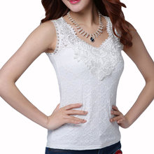 Women's Sexy Blouse Shirt Summer Elegant Sleeveless White Black Crochet Lace Shirt Tops And Blouses Woman Blusas Vest Camisa(China)