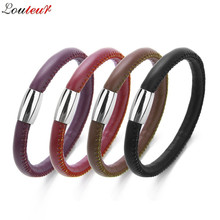 LOULEUR 2018 New Punk Men Braid Leather Bracelet Friendship Bracelets & Bangles Pulseras Hombre Fashion Women Jewelry