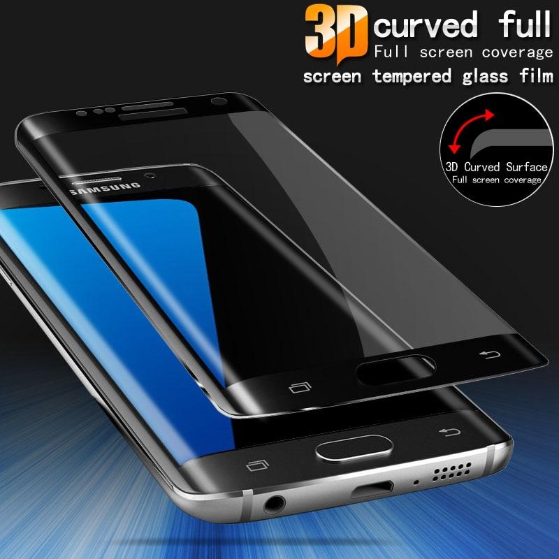 Cierto 3D curva de la cubierta de vidrio templado para Samsung Galaxy S9 S6  S7 borde S8 más Note8 Note9 protectora de vidrio protector de pantalla