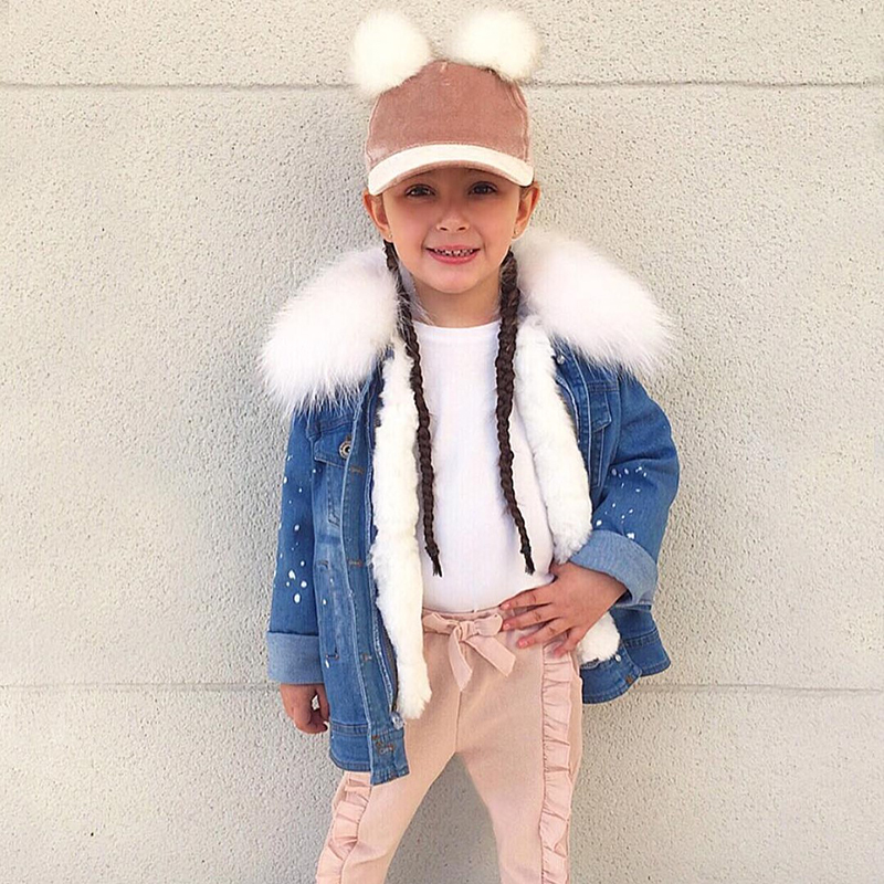 Childrens Outerwear Coats Winter Girls Fur Coat Rabbit Fur Liner Denim Jackets For Girls Coat Parkas For Boys Jacket And Coat
