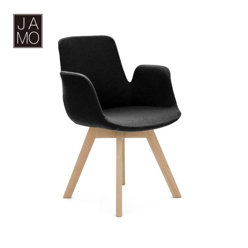 Armchair for living room and coffee house Europe and America style high elasticity foam coved with cashmere wool OAK wooden legs