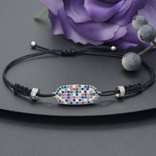 Adjustable Size Luxury Geometric Multicolor Micro Cubic Zirconia Pave Dubai Women Party Wedding Bracelets Fashion Jewelry