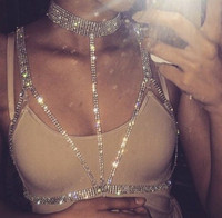 Sexy Bar Ladies For Clothing Chains Crystal Silver Beads Fashion Jewelry Nightclub Birthday Party Holiday Body Jewelry
