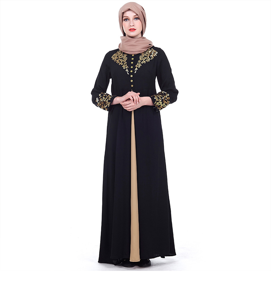 Gold Stamping Printing Muslim Dress
