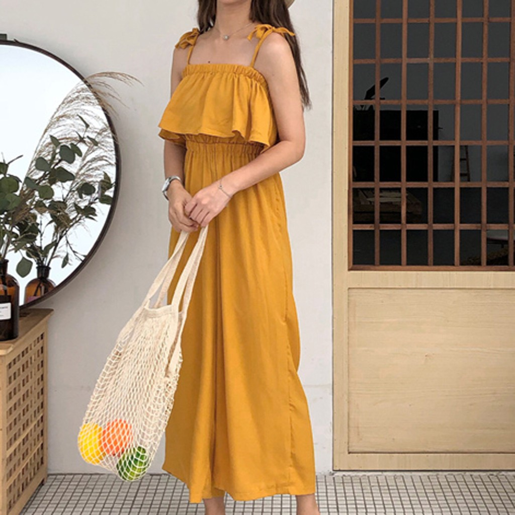 2020 New Fashion Women Jumpsuit Camisole Sexy Sleeveless Pure Color Loose Jumpsuits Best Selling Leg Pants vestido de mujer