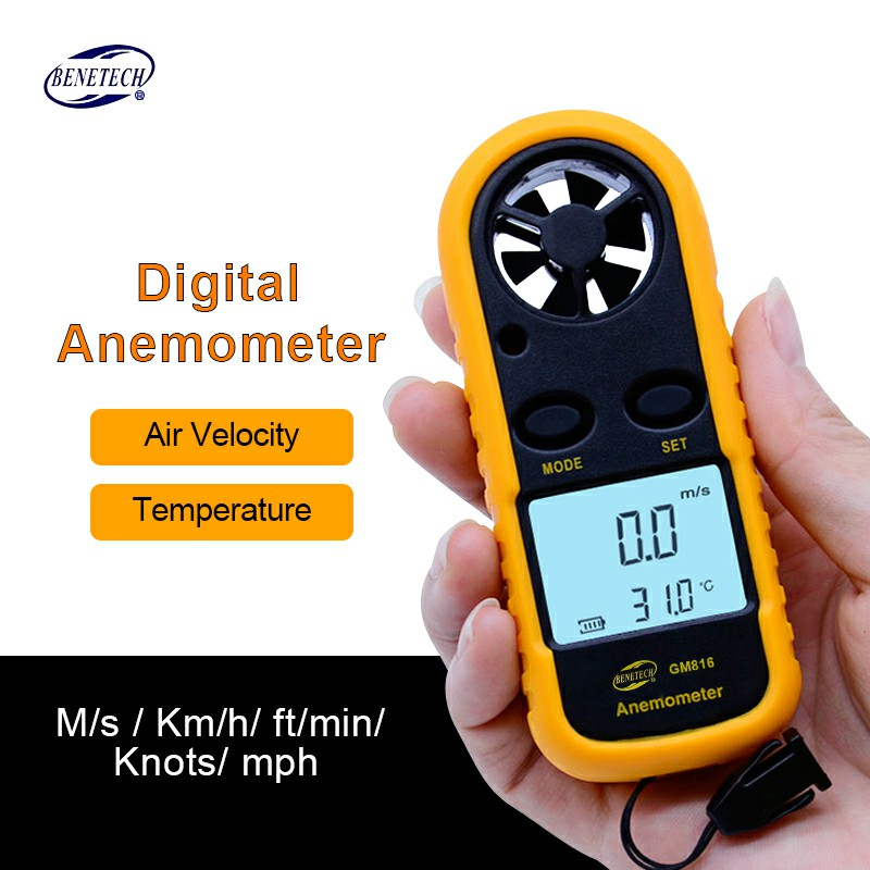 Digital Anemometer Wind Speed Gauge Meter GM816 30m/s (65MPH) Hand-held Anemometro Thermometer LCD Air velocity Measure tool benetech gm816 digital lcd cfm cmm thermo anemometer infrared thermometer for wind speed gauge meter temperature