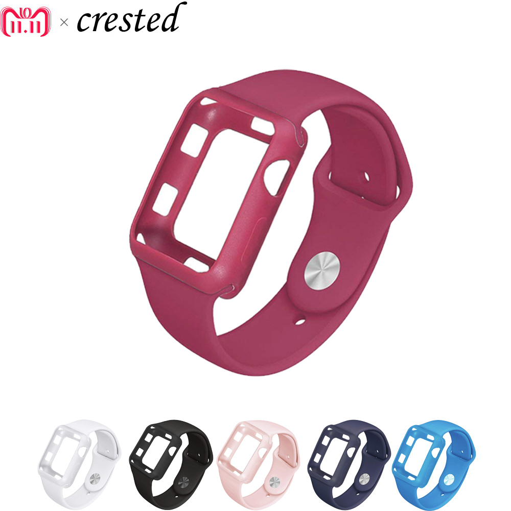 silicone protective cases+strap for apple watch case 3/2/1 iwatch band 42mm/38mm bracelet wrist belt clock watchband+cover wrist belt silicone protective case for gopro hero3 3 wi fi remote control deep pink