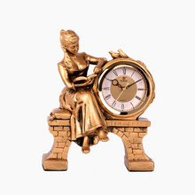 POWER European Gentlewoman Design Table Clock Silent Stopwatch Quartz Movement Desk Clocks Gold Resin Masa Relogio De Saati Saat