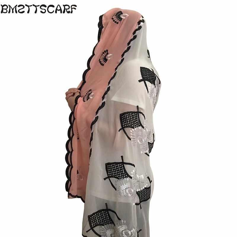 Nuevo Africana bufandas musulmán bordado de las mujeres de gran bufanda de la gasa para envolturas Mantones pañuelo buen diseñador bufanda BM437