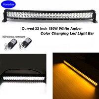 Honzdda Led Light Bar Curved 12V Offroad White Amber Light Bar Signal light 9 Flashing Modes Emergency Vehicle Strobe Lights