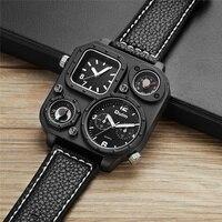 Oulm Dual Time Zone Watch HP1169 New Style Casual Men's Wristwatches Decorative Compass Temperature Unique Male Quartz Watch
