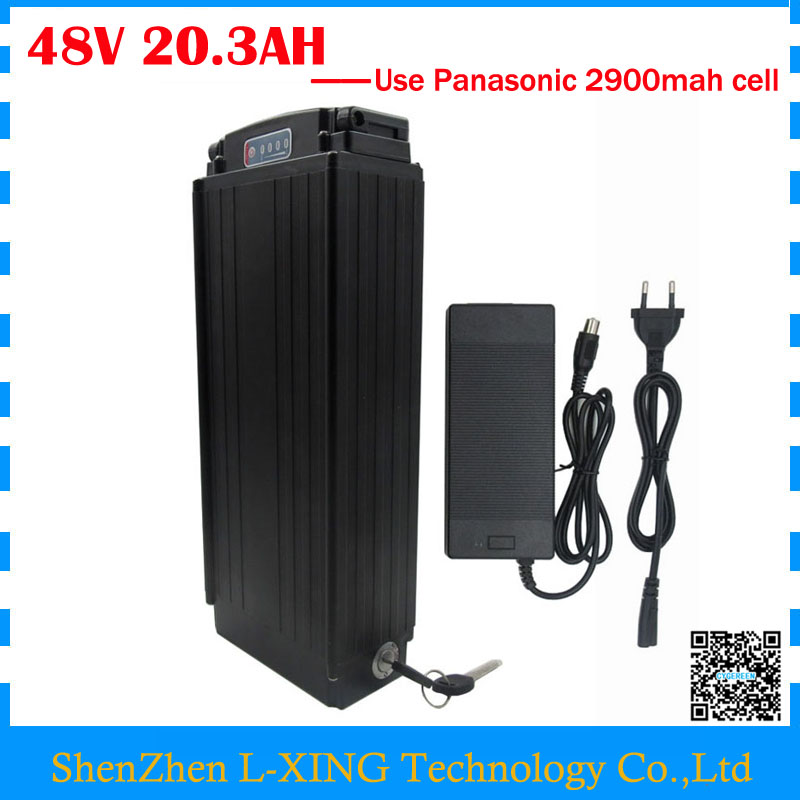 1000W electric bike battery 48V 20.3AH 48V 20AH lithium ion battery with tail light use Panasonic 2900mah cell 30A BMS diy 48v 1000w samsung cell electric bike lithium battery 48v 30ah li ion 18650 battery with 30a bms for e bike battery