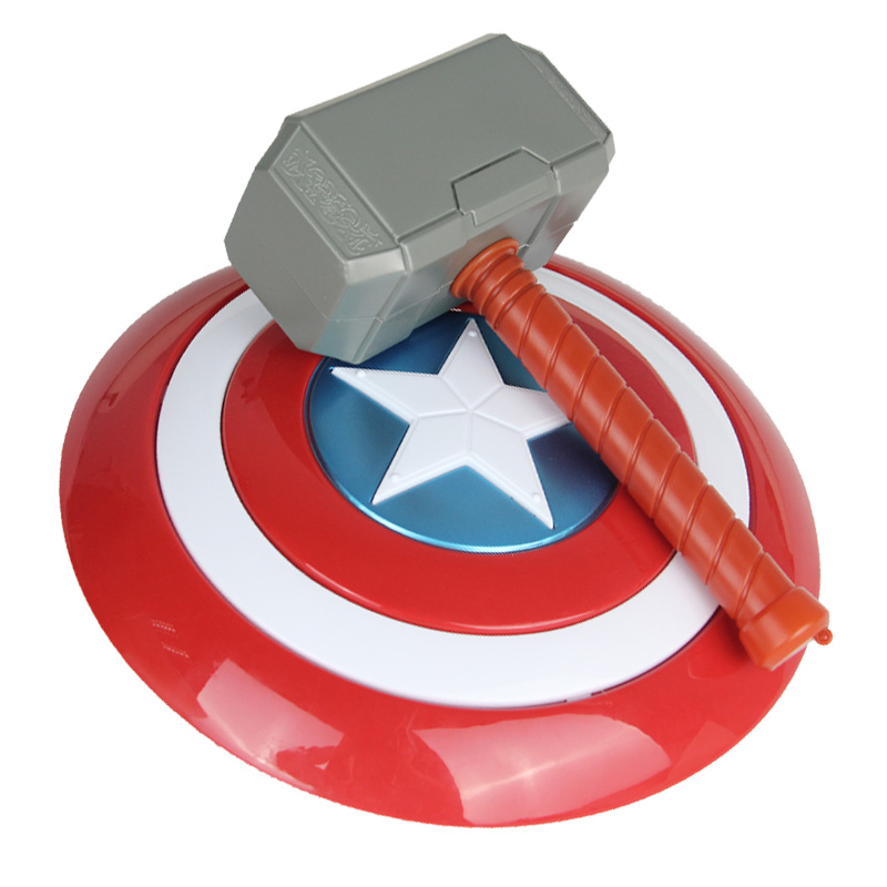 Avengers Endgame 32cm Captain America Shield Halloween Cosplay Prop 28cm Thor Hammer Model