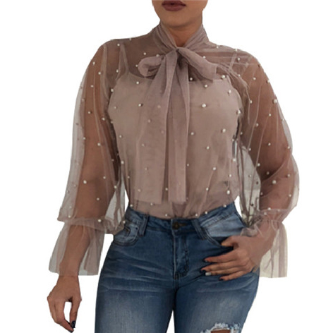 Responsible New 2018 Lace Blouse Pearls Summer Sexy Women Top Mesh See Through Bow Bandage Flare Long Sleeve Elegant Famale Blouse Plus Size Jade White Blouses & Shirts