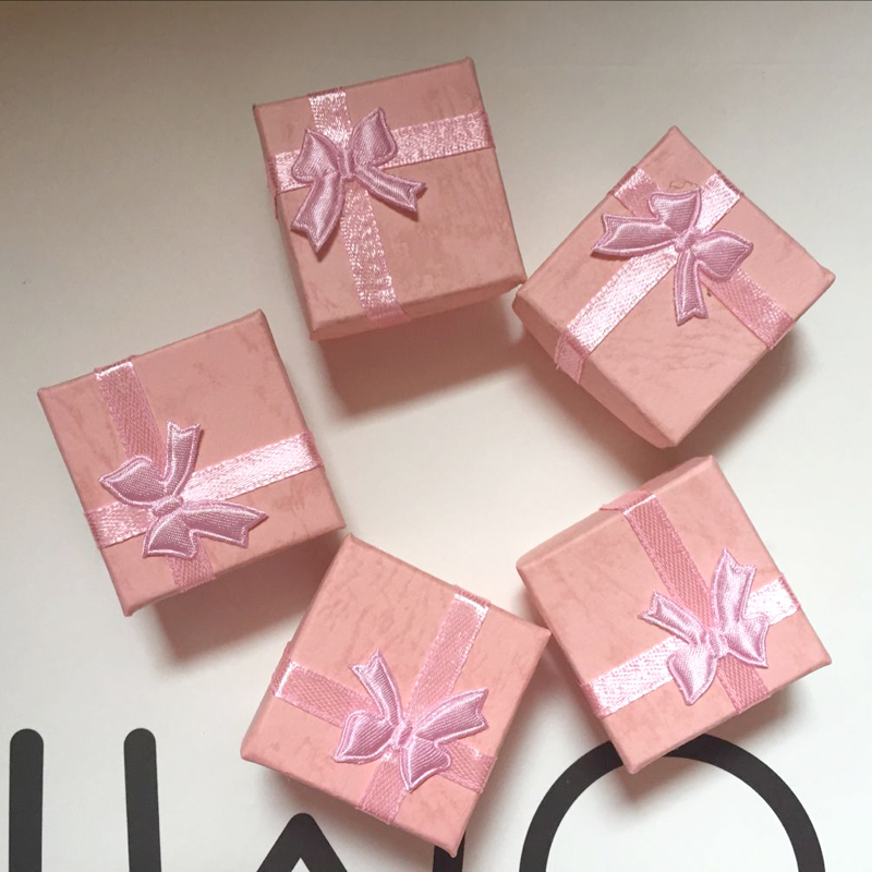 10pcs A Lot Sell  Jewelry Package ,4x4cm Fashion Fashion Pink Color Knot Flower  Jewelry Nice Box A89  For Earring/ring Pink Box