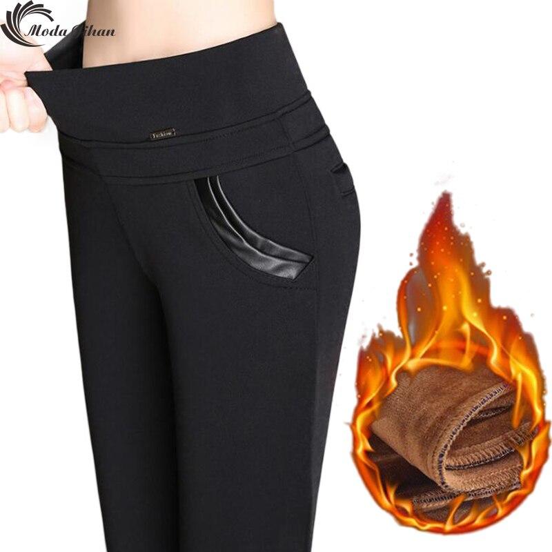 Moda Jihan Women Winter Pencil Pants Warm Thick Plus Velvet Pants Slim High Waist Stretchy Female Trousers 6XL Large Size New