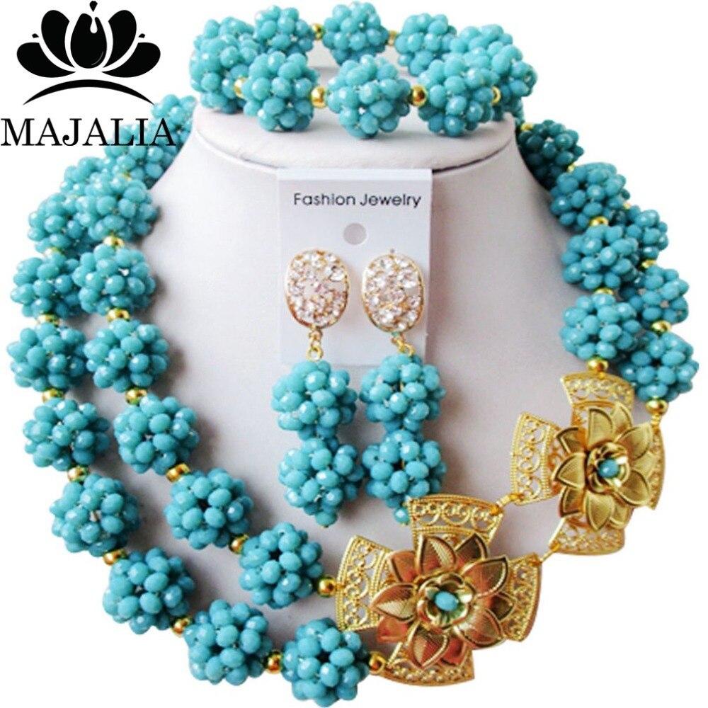 Majalia mode nigérian mariage bijoux africains ensemble Aqua bleu cristal perle collier mariée bijoux ensembles livraison gratuite 2JS085