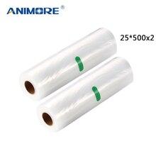 ANIMORE Vacuum Packaging Rolls 25x500 Vacuum Heat Sealer Food Saver Bags Food Storage Bags 2 Rolls Food Storage Bags