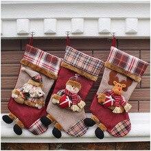 2016 New Large Long Legged Christmas Stocking Plaid Xmas Tree Decoration Gift Candy Bag Santa Snowman Christmas Decoration Socks