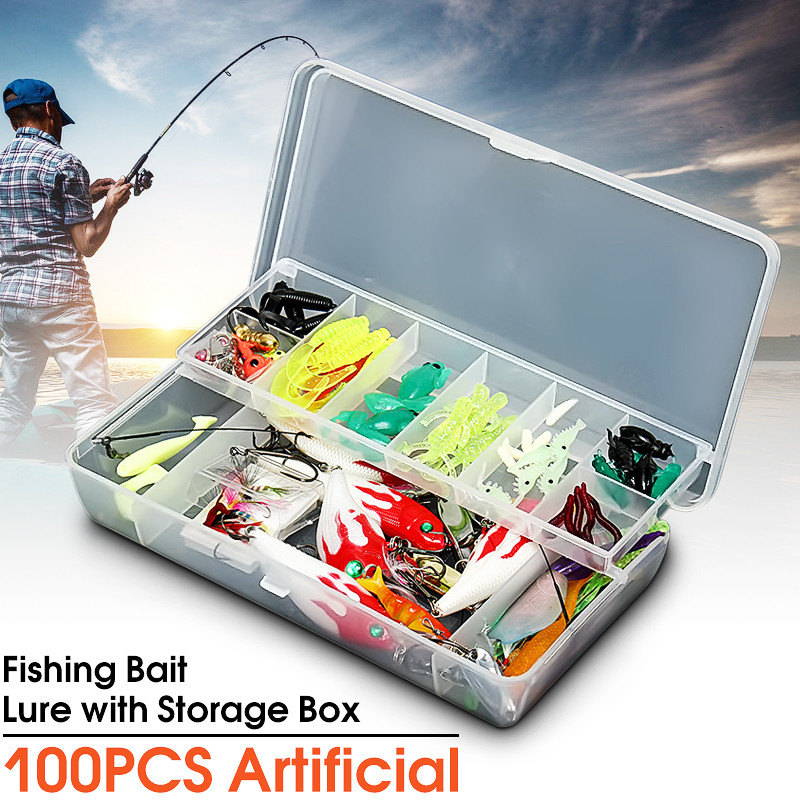 Bobing 100pcs/lot Fishing Lures Set In Tackle Box Poper Minnow Baits Soft Bait Hard Bait Spinners With Feather Treble Hooks 1pcs high quality 5 4g 6cm fishing lures minnow crank bait crankbait bass tackle treble hooks fishing tackles hard baits pesca