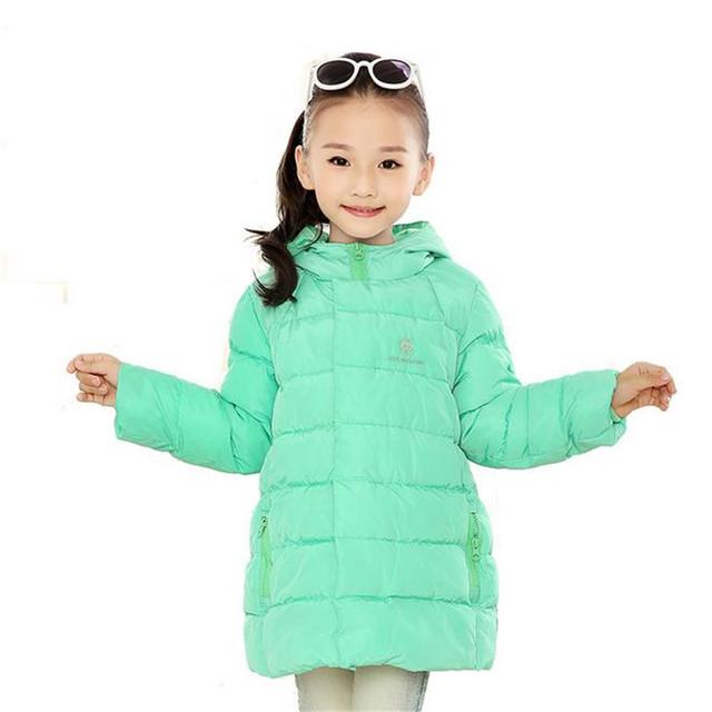 Nova Marca 2016 Crianças Meninas Casaco de Inverno de Moda Outwear Leve crianças Quente Longo Casaco de Down & Parkas Frete Grátis