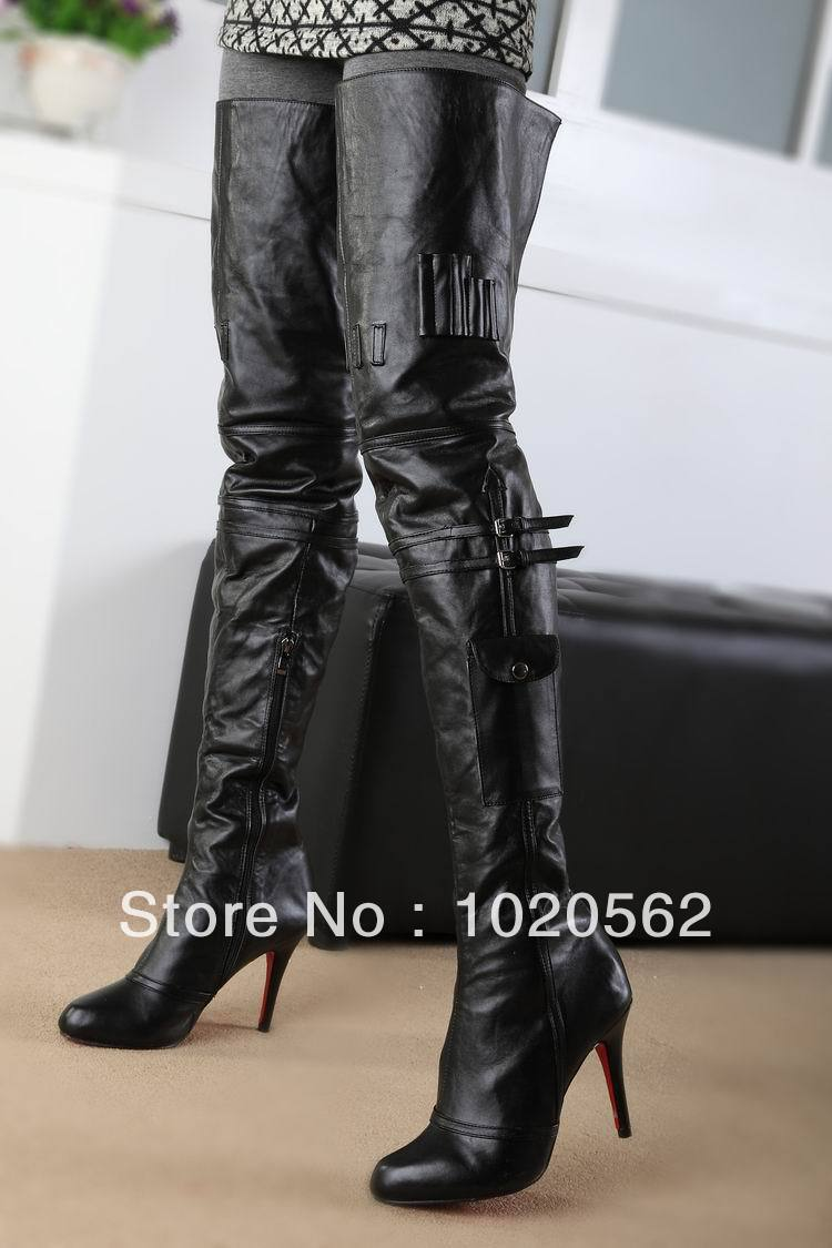 2014 New Arrival Thigh High Boots Red Sole Women
