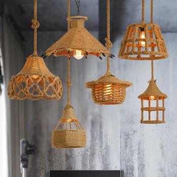Creative Vintage Loft Handknitted Hemp Rope Wicker Pendant Light Industrial Rattan Droplight with Edison Bulb For Living Room