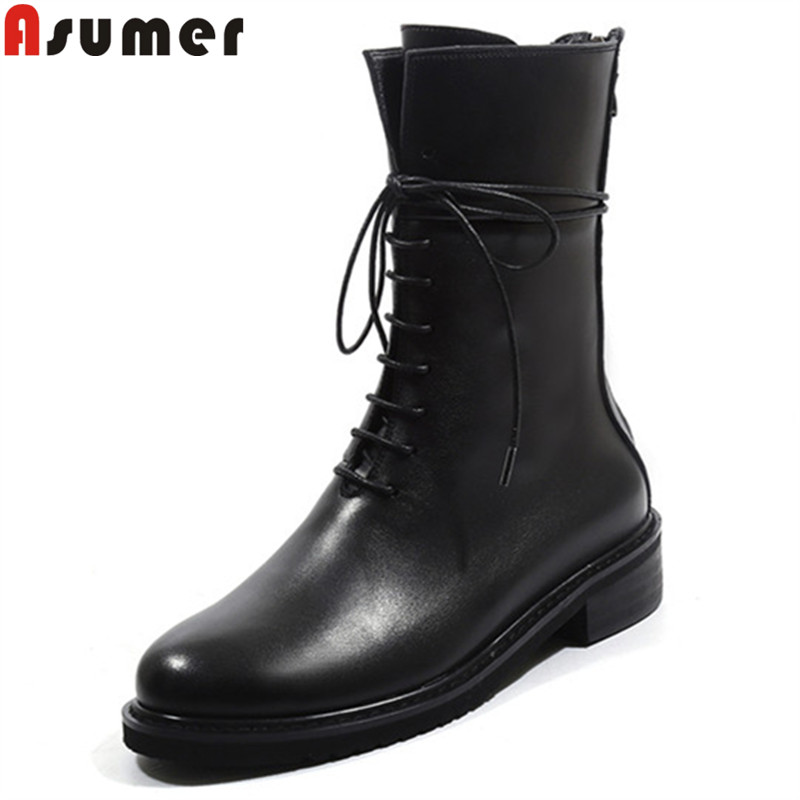 ASUMER 2020 new boots women med heels black lace up boots classic cross tied mid calf