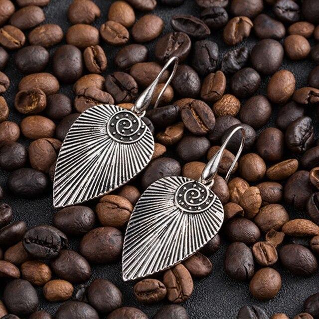 Vintage thread antique silver leaf leaves earrings for women Ethnic conch stripe pendant indian earring earings jewelry bijoux