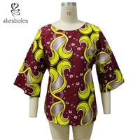 Shenbolen African Clothing Loose Top Dashiki Short For Women Cotton Super Wax Print Women Party clothes