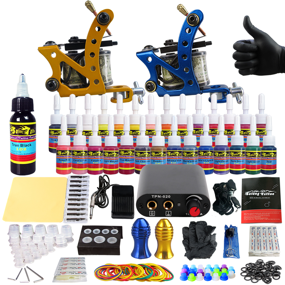 Solong Tattoo complete professional 2 tattoo Machine Guns set Tattoo Kit 28 Inks Needle Grips power supply TK204-37 europe god of darkness robert recommend gp self lock grips gp3 professional tattoo artist grip