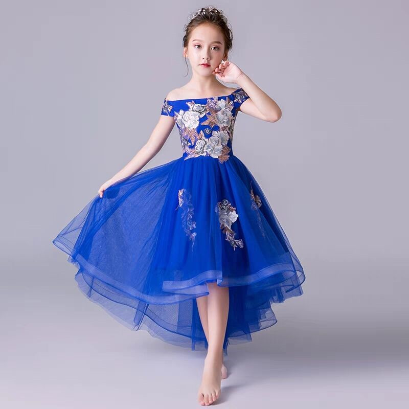 2~12yrs Girls Toddler Luxury Shoulderless Collar Embroidery Flowers Birthday Holiday Party Dress Children Embroidery Model Dress2~12yrs Girls Toddler Luxury Shoulderless Collar Embroidery Flowers Birthday Holiday Party Dress Children Embroidery Model Dress