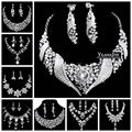New Luxury Women Jewelry alloy rhinestone necklace earrings three-piece suit tiara crown wedding dinner party accessories
