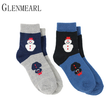 2 pairs/lot Quality Fall Winter Brand Soft Warm Thick High Coolmax Compression Christmas Female Socks