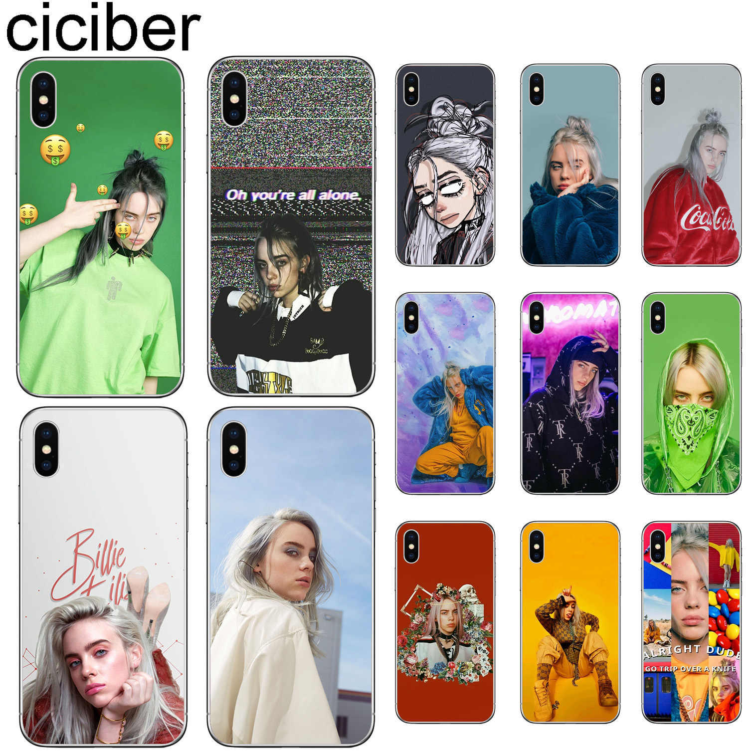 Ciciber Billie Eilish สำหรับ iphone 11 Pro X XS MAX สำหรับ iphone XR 7 8 6 6S Plus 5 5S SE Soft TPU Funda Coque