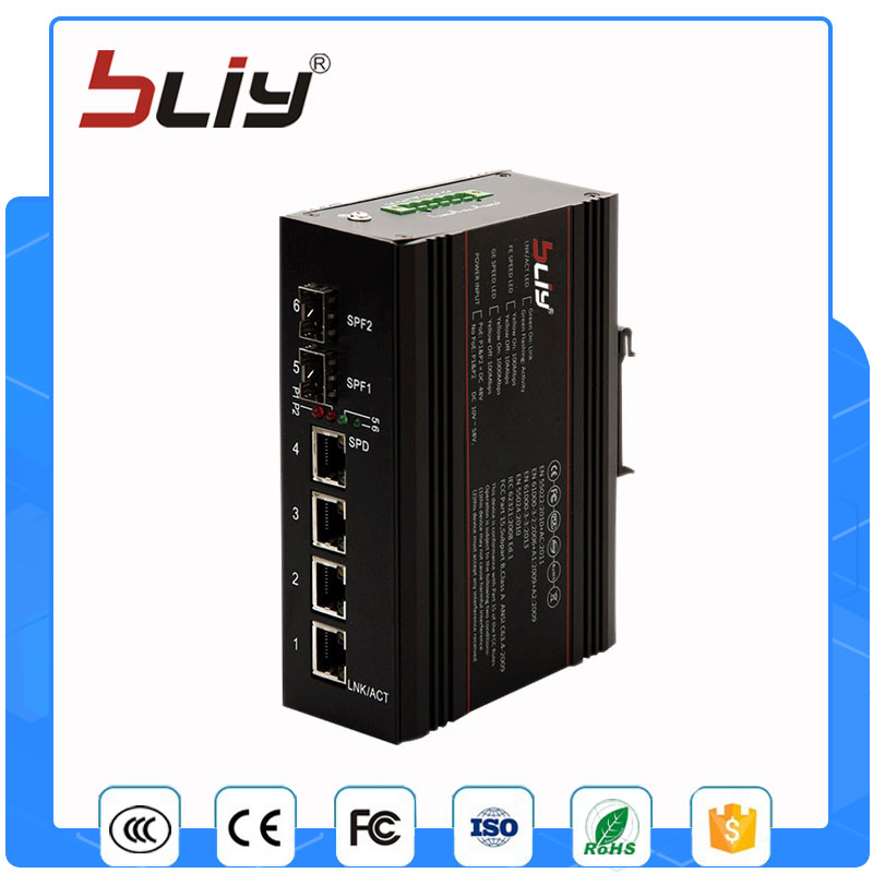 2GX4GT 6 port network switch 2 SFP connector fiber to 4 rj45 industrial switch managed industrial grade network switch 4 gigabit rj45 port 2 sfp fiber port ethernet industry smart network optical kvm switch