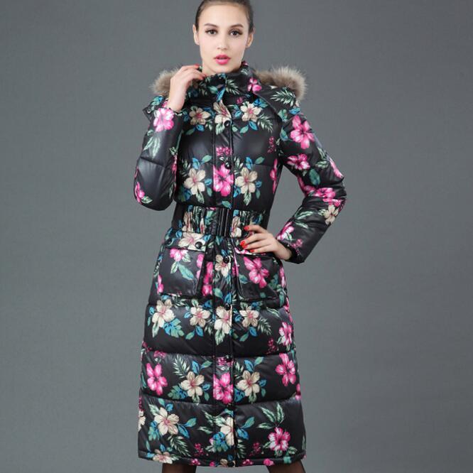 Invierno Caliente larga Chaqueta de las Nuevas mujeres de Moda Flor de Impresión