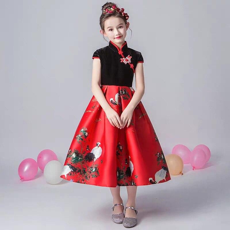 2019 de lujo primavera nuevo estilo chino tradicional de las muchachas de los niños de la noche de la fiesta de cumpleaños modelo de vestido de los niños adolescentes vestido de baile de graduación - 2