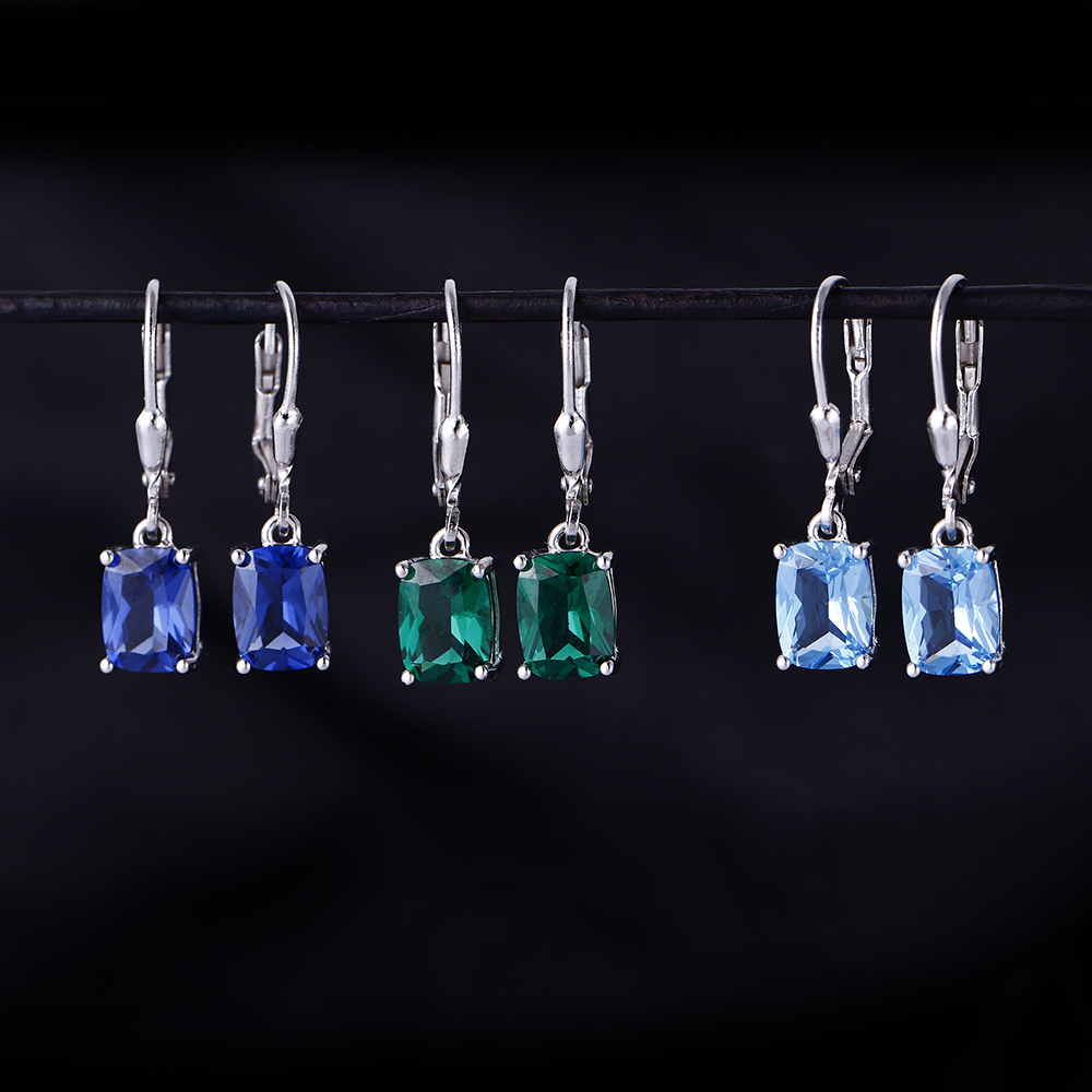 Blue Topaz amp Emerald amp Royal Navy Blue Gemstone Pendant Earrings Women 39 s Solid 925 Sterling Silver Charm Earrings Bridal Wedding in Earrings from Jewelry amp Accessories