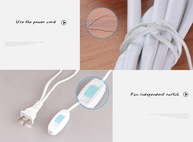 AUX Mini Household Mute Ceiling Fan 220V 7W Energy Saving Fan ABS 6 blades Sleep/Natural Wind Home Student Dorm Use Blue FC-16A1 3