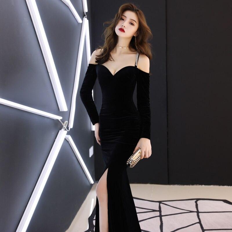 Chanteuse Bal Queue En Sexy Mariage Robes D'anniversaire Velours Slim Banquet Robe Longue Célébrer Femmes Noir Soirée Poisson De 6wfEqSxOx