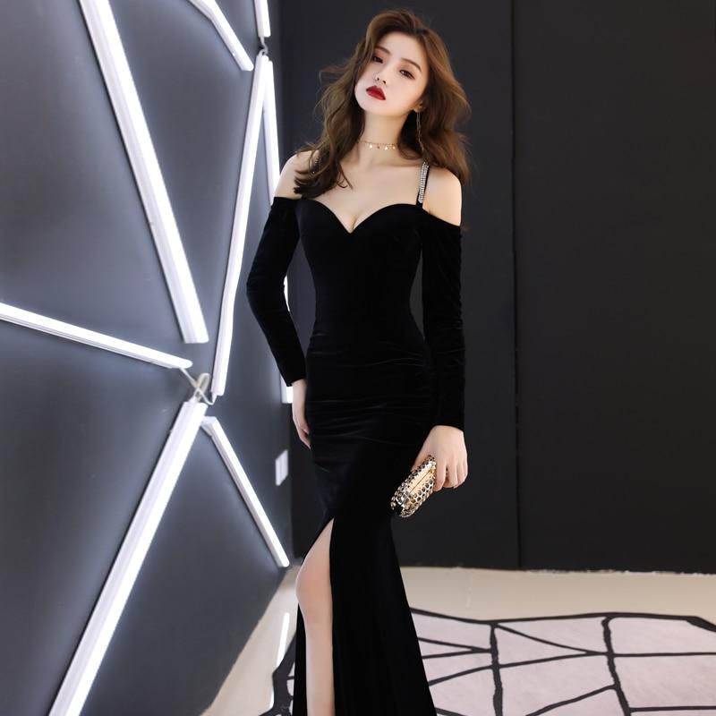 d5911bb32bb79 Bal Poisson Robe Femmes Robes Banquet Mariage Sexy Noir Longue ...