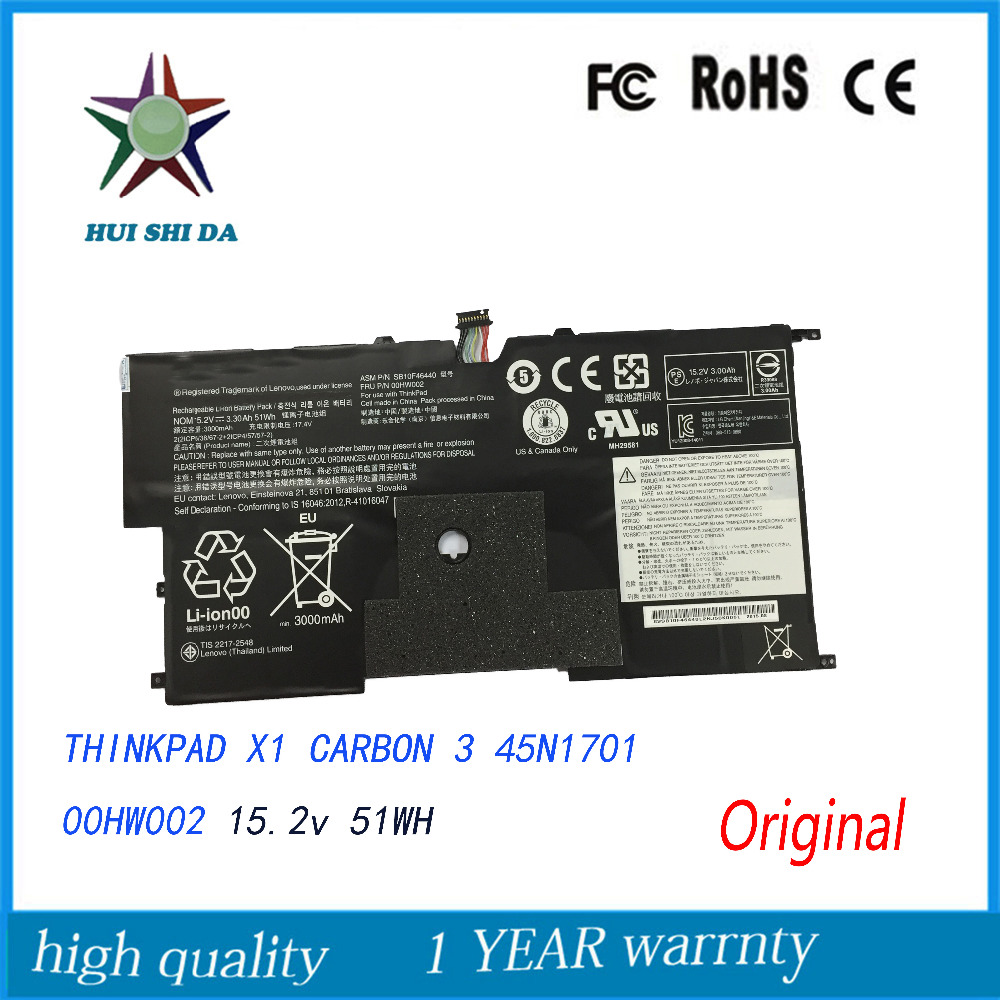 New  Original   Laptop Battery for Lenovo ThinkPad X1CARBON 3 45N1701 00HW001 45N1702 45N1703 45N1704 10 8v 5 2ah genuine new laptop battery for lenovo thinkpad t400 t61 t61p r61 r61i r400 14 42t4677 42t4531 42t4644 42t5263 6cell