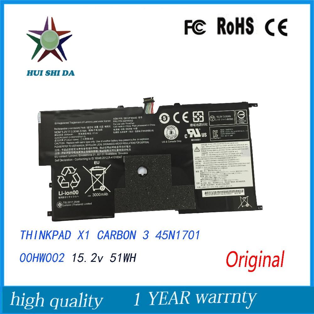 New  Original   Laptop Battery for Lenovo ThinkPad X1CARBON 3 45N1701 00HW002 11 1v 94wh battery for lenovo thinkpad 45n1007 45n1006 t430 t430i t530 t530i w530 sl430 sl530 l430 l530 45n1010 45n1173 45n1001
