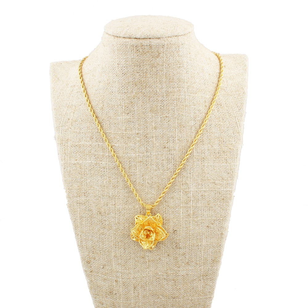 Wholesale 22k Gold Color Beautiful Flower Design Fashion Jewelry